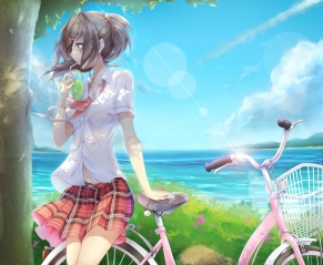 Konachan.com - 188732 bell bicycle brown_eyes brown_hair clouds drink long_hair navel original phone ponytail seifuku shirt skirt sky tree water yue_chi
