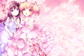 Konachan.com - 188740 2girls akemi_homura cherry_blossoms dress kaname_madoka mahou_shoujo_madoka_magica petals tagme yamada_ako
