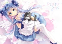 Konachan.com - 189260 angel animal apron blue_eyes blue_hair bow cat choker dress halo kyuri_(405966795) long_hair original pixiv-tan thighhighs wings