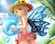 Konachan.com - 189280 ass blonde_hair bubbles flowers green_eyes hat lost_crusade namaru_(summer_dandy) panties skirt sunflower swimsuit tagme_(character) underwear wings