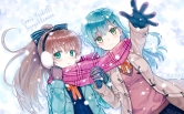 Konachan.com - 192199 2girls aqua_eyes blue_hair brown_hair earmuffs gloves hiten_goane_ryu kumano_(kancolle) long_hair scarf snow suzuya_(kancolle) winter