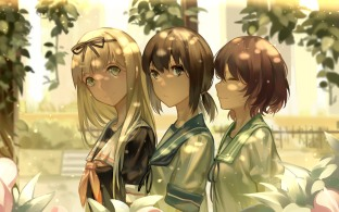 Konachan.com - 196281 blonde_hair brown_hair close fubuki_(kancolle) headband kantai_collection leaves long_hair ponytail ribbons seifuku short_hair zicai_tang
