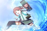 Konachan.com - 196471 anthropomorphism asagumo_(kancolle) bike_shorts brown_hair green_eyes kantai_collection seifuku shorts skirt starfullfull thighhighs twintails water
