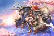 Konachan.com - 197730 animal anthropomorphism bird brown_hair cherry_blossoms clouds kantai_collection long_hair petals ponytail untsue water yamato_(kancolle)