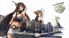 Konachan.com - 198102 2girls animal bird black_hair brown_hair kantai_collection mutsu_(kancolle) nagato_(kancolle) shizuma_yoshinori thighhighs weapon