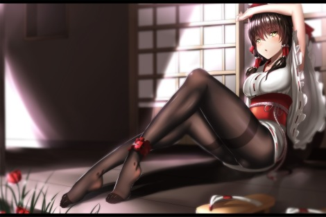 Konachan.com - 198999 ass brown_hair flowers hakurei_reimu hk_%28zxd0554%29 japanese_clothes jpeg_artifacts long_hair pantyhose touhou twintails yellow_eyes