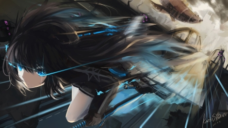 Konachan.com - 199230 black_hair black_rock_shooter blue_eyes kuroi_asahi kuroi_mato long_hair signed sword weapon