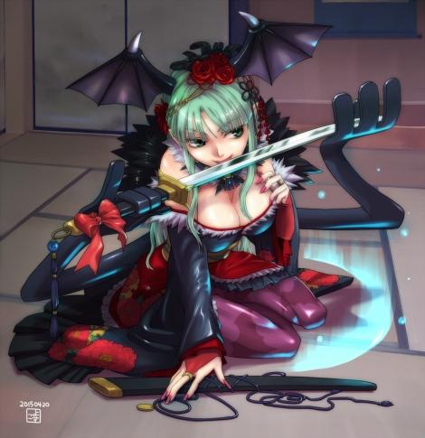 yande.re 317592 cleavage dark_stalkers japanese_clothes morrigan_aensland pantyhose sword wings yosuko_(artist)