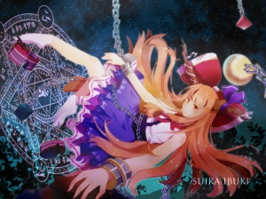 Konachan.com - 173990 bow chain horns hourai_ninjin ibuki_suika long_hair orange_hair ribbons socks touhou