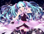 Konachan.com - 192877 aqua_eyes aqua_hair gloves hatsune_miku long_hair music sky_hinata thighhighs twintails vocaloid zettai_ryouiki