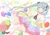 Konachan.com - 193299 aqua_eyes aqua_hair bow choker hatsune_miku kneehighs long_hair nagitoki skirt twintails vocaloid wristwear