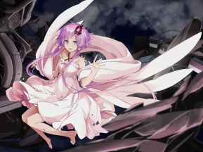 Konachan.com - 193373 barefoot dress long_hair purple_eyes purple_hair tears toromera twintails vocaloid yuzuki_yukari