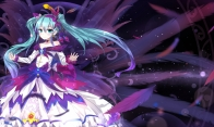 Konachan.com - 193745 blue_eyes blue_hair blush bow choker dress feathers hatsune_miku long_hair sen_ya twintails vocaloid