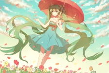 Konachan.com - 194041 dress flowers green_eyes green_hair hatsune_miku lan-jue long_hair petals twintails umbrella vocaloid