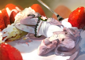 Konachan.com - 194088 bou_shaku pantyhose purple_eyes purple_hair strawberry vocaloid yuzuki_yukari