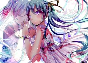 Konachan.com - 194228 dress hatsune_miku long_hair ribbons umi_no_suzuka vocaloid