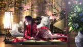 Konachan.com - 194284 animal black_hair flowers houraisan_kaguya inubashiri_momiji japanese_clothes kimono long_hair petals ryosios touhou wolf