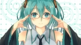 Konachan.com - 194345 aqua_eyes aqua_hair glasses hatsune_miku long_hair o_daizen tie twintails vocaloid