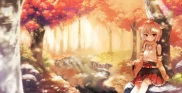 Konachan.com - 194938 animal_ears autumn forest hat inubashiri_momiji leaves red_eyes shinoba short_hair skirt touhou tree water white_hair
