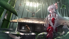 Konachan.com - 195021 animal bird bow building feathers fujiwara_no_mokou gray_hair long_hair ponytail red_eyes ryosios touhou water