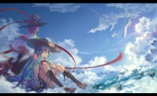 Konachan.com - 195215 2girls ane_niku animal bird boots clouds hat hinanawi_tenshi nagae_iku sky touhou