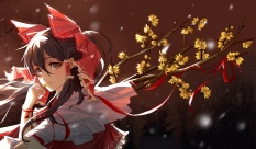 Konachan.com - 195380 black_hair brown_eyes flowers hakurei_reimu japanese_clothes long_hair miko nye ribbons touhou wristwear