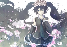 Konachan.com - 195555 alicetype bicolored_eyes black_hair blue_eyes flowers green_eyes hatsune_miku long_hair skirt thighhighs tie twintails vocaloid
