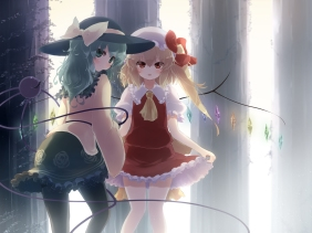 Konachan.com - 195732 2girls blonde_hair flandre_scarlet gengetsu_chihiro green_eyes green_hair hat komeiji_koishi long_hair red_eyes touhou wings