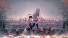 Konachan.com - 195789 barefoot blood boots braids city ia kneehighs long_hair sky vocaloid yuu-rin
