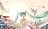Konachan.com - 195986 animal aqua_eyes aqua_hair bird dress feathers hatsune_miku long_hair tears twintails vocaloid wallacexi