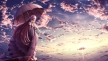 Konachan.com - 195989 clouds dress hat long_hair sky sunset tanikawa touhou umbrella yakumo_yukari