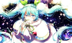 Konachan.com - 196261 aka_tonbo_(lovetow) aqua_eyes aqua_hair flowers hatsune_miku leaves twintails vocaloid yuki_miku