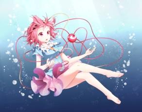 Konachan.com - 196615 barefoot bubbles headband komeiji_satori nogisaka_kushio pink_eyes pink_hair short_hair skirt touhou underwater water