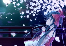 Konachan.com - 196967 black_hair cherry_blossoms hakurei_reimu japanese_clothes loli long_hair miko moon night tianya_beiming touhou