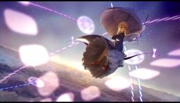 Konachan.com - 197161 blonde_hair bow braids clouds dress hat kinketsu magic sky touhou umbrella yakumo_yukari