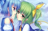 Konachan.com - 197285 blue_eyes blue_hair blush bow cirno daiyousei fairy green_eyes green_hair sayori scan short_hair shoujo_ai touhou wings