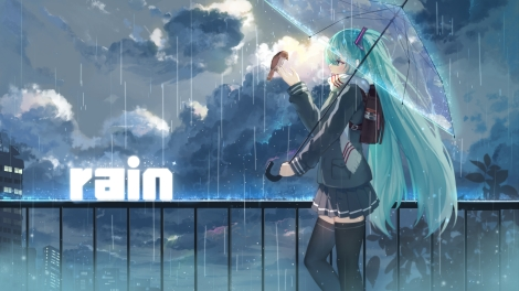 Konachan.com - 200296 animal bird city clouds haraguroi_you hatsune_miku long_hair rain seifuku skirt sky thighhighs twintails umbrella vocaloid water zettai_ryouiki