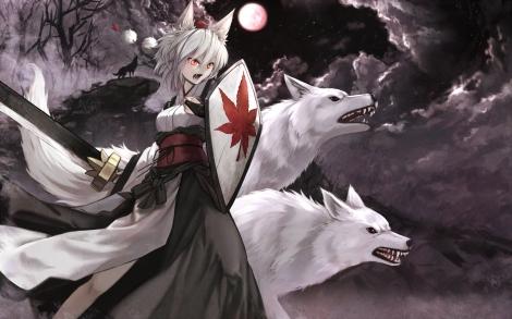 Konachan.com - 200894 animal_ears cloudy.r fang inubashiri_momiji japanese_clothes moon red_eyes sword touhou tree weapon wolf wolfgirl