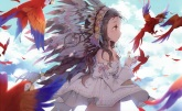Konachan.com - 189657 animal anmi bird braids brown_hair feathers long_hair original scan sky