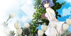 Konachan.com - 189723 ass blue_hair choker dress flowers orange_eyes original primcoco short_hair tree