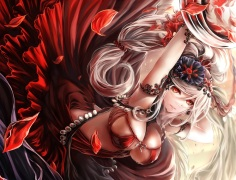 Konachan.com - 190749 breasts cleavage dress gin_ji headdress long_hair original petals ponytail red_eyes white_hair