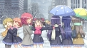 Konachan.com - 190827 ayase_eri blush brown_hair city gloves long_hair pink_eyes pink_hair scarf seifuku short_hair skirt snow sonoda_umi tree umbrella yazawa_nico
