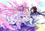 Konachan.com - 191076 2girls akemi_homura black_hair bow dress feathers gloves headband hoony kaname_madoka long_hair pantyhose pink_hair twintails yellow_eyes