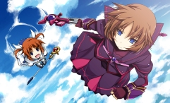 Konachan.com - 191263 blue_eyes brown_hair clouds mahou_shoujo_lyrical_nanoha mahou_shoujo_lyrical_nanoha_a's_the_gears_of_destiny material-s shikei sky takamachi_nanoha