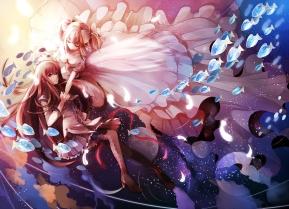 Konachan.com - 191377 2girls akemi_homura animal dress fish kaname_madoka long_hair mahou_shoujo_madoka_magica pantyhose ribbons sevenann short_hair skirt water