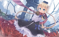 Konachan.com - 191503 blonde_hair blue_eyes blush braids dress flowers fred04142 gloves hat long_hair original ribbons scarf snow winter