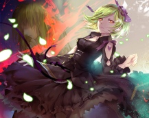Konachan.com - 191525 bow gabu.c green_hair orange_eyes petals ribbons sheri short_hair skirt tattoo unlight