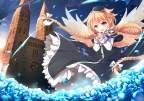 Konachan.com - 192312 aata1007 blonde_hair blue_eyes braids dress flowers hat long_hair petals wings