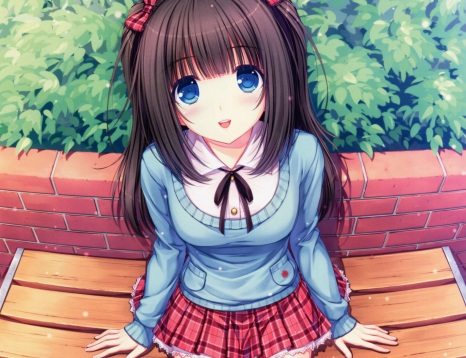 Konachan.com - 192450 black_hair blue_eyes bow sayori