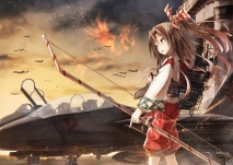 Konachan.com - 198167 aircraft bow_%28weapon%29 boyogo brown_hair kantai_collection sky weapon zuihou_%28kancolle%29